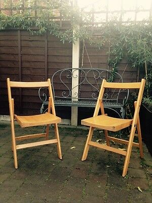 Vintage Wooden Church Hall Folding Chairs X2