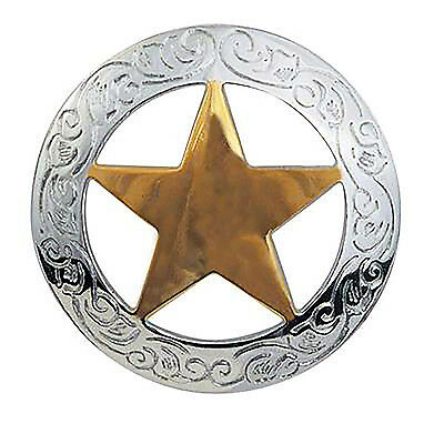 "1 1/2"" Nickel Plated Concho & 18 Karat Gold Plated Texas Star - Free Shipping!"