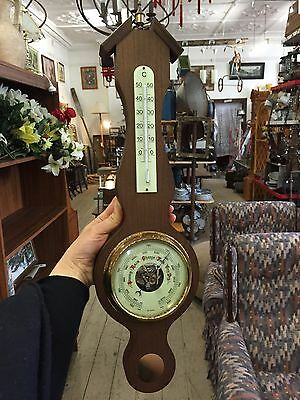 Vintage WOODEN BAROMETER THERMOMETER West Germany 50cm long