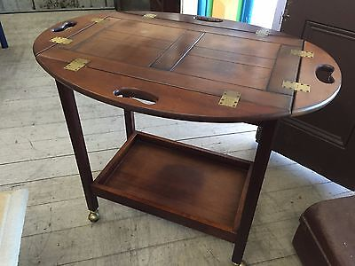 Vintage Wooden Drink Serving Trolley Table Removable Tray Brass hinges 2 Tier