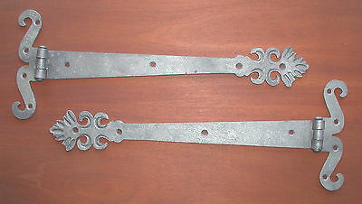 "Pair O' 14"" Curled with Floral Tip Strap Hinges, by Blacksmiths"