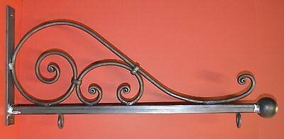 Wrought Iron Scroll Sign Bracket, Holder, 31 in., by Worthington Forge in USA