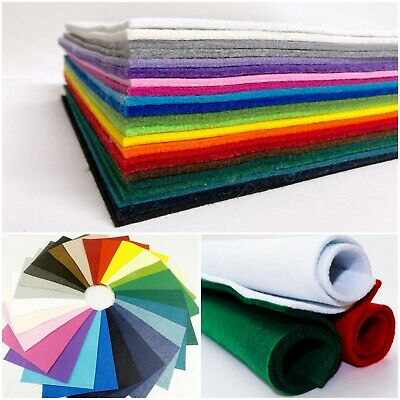 3-4mm EXTRA THICK FELT Polyester Plain Colour Craft Bag Felt Fabric Material