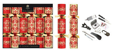 6 Tom Smith Luxury Red &gold Christmas Crackers   Design 12.5""
