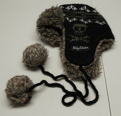 Harley Davidson Unisex Small Black Acrylic Knit Winter Hat