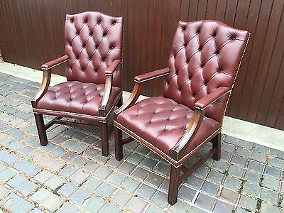 Pair Of Quality Antique Chesterfield Gainsbourgh Office Armchairs - Oxblood Red
