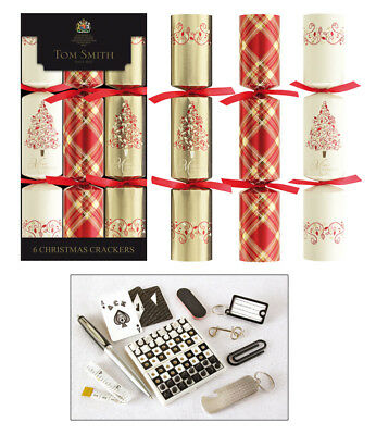 Tom Smith Christmas Crackers- 6 x 12'' Red & Gold Foliage Cube Crackers