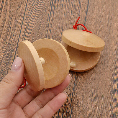 1 Pair Wooden Castanets Kids Toy Rhythm Percussion Flamenco Musical Instrument
