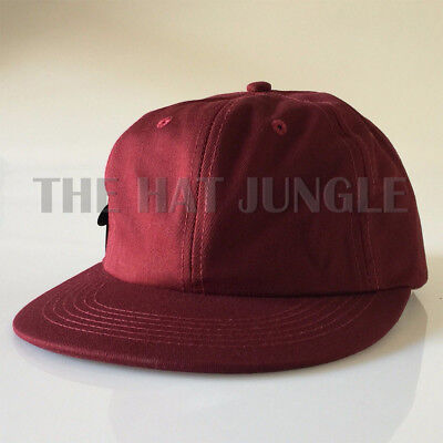 17e0c8ef03437 MAROON RED Plain Unstructured Dad Hat Buckle Strapback Cap Flat Bill Low  Profile