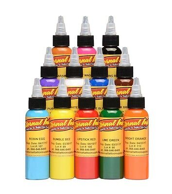 USA Authentic!Eternal Tattoo Ink 1/2oz(15ml),Primary Color Set 12,Ship Worldwide
