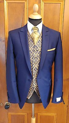 Navy & Gold Fleur-De-Lys Waistcoat Various Sizes £10 by Anthony Formal Wear
