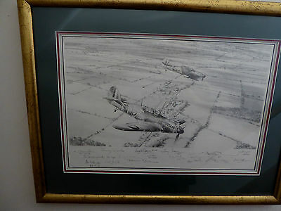 Robert Taylor Original Drawing RAF Hurricane Tommy Leader