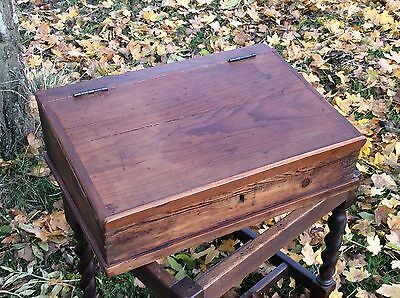 Antique Vintage Pine Writing Desktop Slope Drawer Cabinet