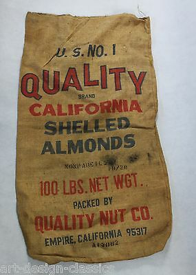 alter Leinenensack - Säcke - Quality Brand California Shelles Almonds -