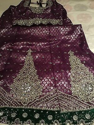 girl's Indian Chili suit, with diamond, silver and velvet wrk, 10-12yrs