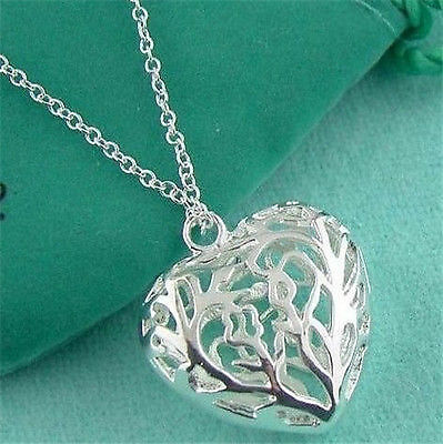 Xmas Gifts Solid 925Sterling Silver Necklace Heart Pendant