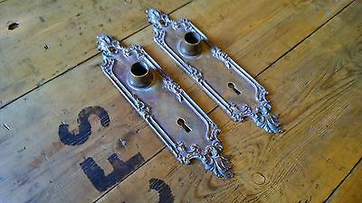 Antique Pair Of Brass Ornate Door Back Plate Yale And Towne Y&T Victorian Handle