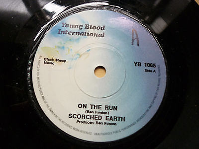 """Scorched Earth On The Run Promo Young Blood International 7"""" Vinyl NWBHM"""