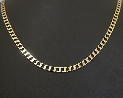 """9Carat Yellow Gold 18"""" Square Curb Link Chain / Necklace (4mm Wide Link)"""
