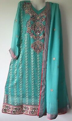 Pakistani 3 Piece Stitched Chiffon Embroidered Shalwar Kameez Anarkali Suit Aqua