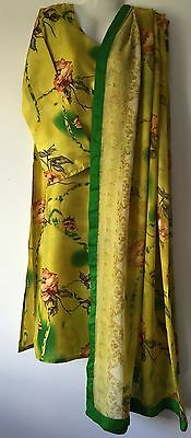 Pakistani Indian 3 Piece Shalwar Kameez Printed Rawsilk Suit In Mustard/ Yellow