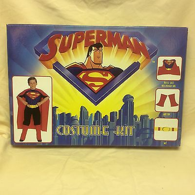 1996 SUPERMAN COSTUME KIT 3D Molded Muscle Chest Attached Cape And Boots NIB