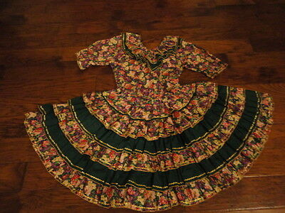 "Square Dance Skirt & Matching Blouse, 20"" Length, Green/Floral           -sacurr"
