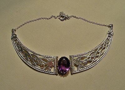 Vintage Scottish Iona Celtic Silver & Amethyst Collar Necklace