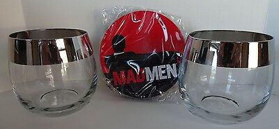 Mad Men Low-Ball Tumbler Glasses and Coaster Set