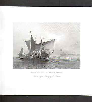Original Antique Print-Boats off the Coast of Yarmouth-engraved W Floyd-1836