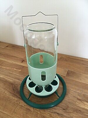 1kg Hanging Glass Feeder For Cage Aviary Finch / Canary/ Budgie Moondown Farm