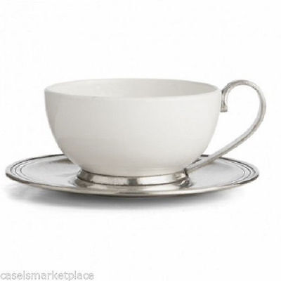 Arte Italica Tuscan Ceramic and Pewter Coffee / Tea Cup and Saucer Made in Italy