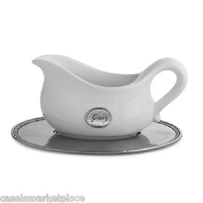 Arte Italica Tuscan Ceramic and Pewter Gravy Boat w/ Tray Made in Italy