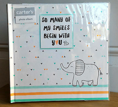 NEW Carter's HELLO WORLD Baby Gender Neutral Elephant Large Photo Album 160 4x6