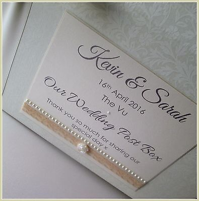 Beautiful Personalised Vintage Wedding Card Chest/ Post Box.Lace & Pearl