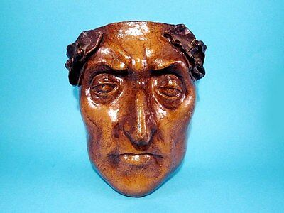 Remarkable Glazed Terracotta Face Applique Of Julius Caesar, Artist Signed,repli