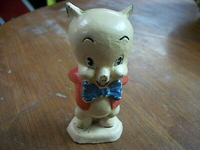 """1940's - 1950's ? 4"""" Tall Cast Iron Porky Pig Warner Bros Animated Charechter"""