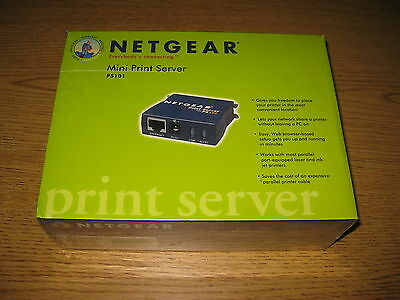 New - Factory Sealed Netgear PS101 Mini Print Server for Parallel Printer