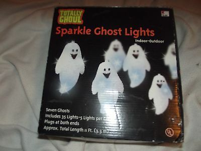 Totally Ghoul sparkle ghost lights- 7 ghost - 11 feet long