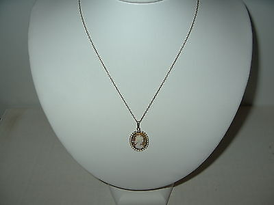 Delicate Vintage Victorian GF Gold Filled Carved Shell Cameo Pendant & Chain