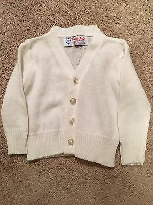 Vintage Children's Sweater White Acrylic Blue Bird Made In USA Holiday Wear 3t