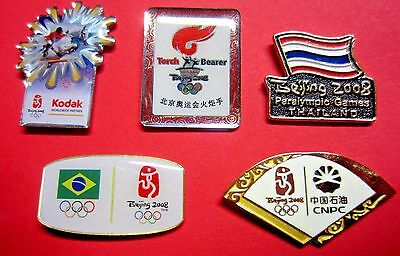 Set Of 5 - 2008 Beijing Olympic/paralympic Lapel Pins