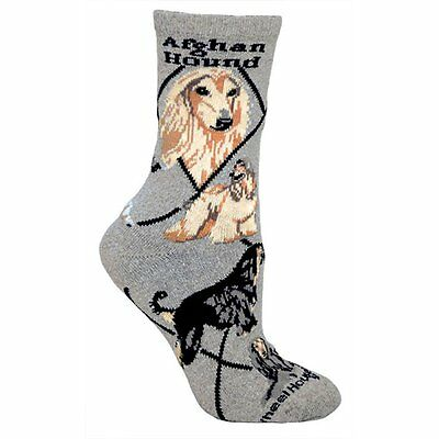 Afghan Hound Dog Breed Gray Lightweight Stretch Cotton Adult Socks