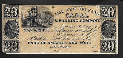 New Orleans Canal & Banking Company $20 Remainder Note Ef Plate Letter A