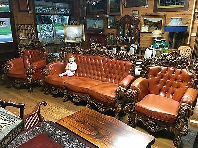 Massive Carved Rococo Italian Leather 3 Piece Sofa Suite Chesterfield