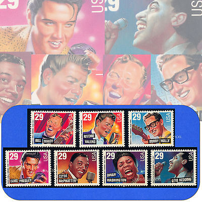 1993  LEGENDS of AMERICAN MUSIC Complete MINT SET of 29¢ Stamps Cat# 2724 - 2730