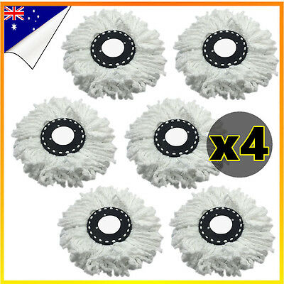 4x Replacement Microfibre White Mop Heads For Spinning Spin Bucket Magic Dry