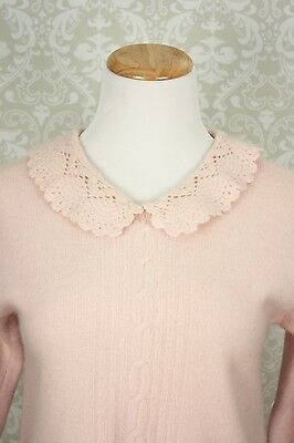 80s 90s Pink Lambswool ANGORA Long Sleeve Sweater Crochet Lace Collar Size Small