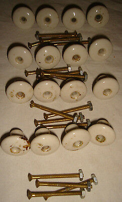 16 Vintage Ceramic / Porcelain White Drawer Knobs