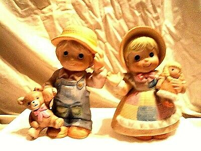 """Rare=Retired=Vtg=Homco """"boy And Girl At Play""""=Bisque Porcelain Figurine's=#1403"""